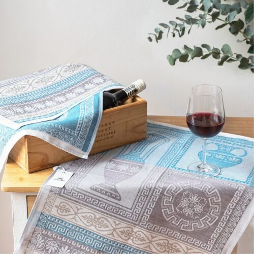 Corinthia Green Jacquard Tea Towel with Amphora and Red Wine