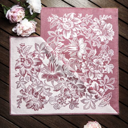 Enchanted Forest Jacquard Tea Towel with Peonies on wooden deck