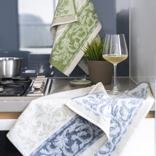 Florence Jacquard Tea Towel Blue and Green in the kitchen