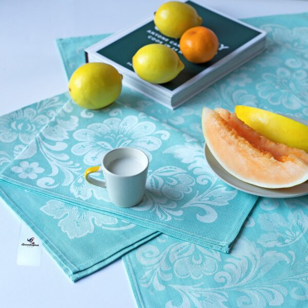 Lilly Turquoise Jacquard Tea Towel with lemons and melon