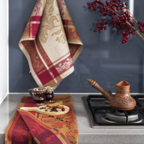 Helga-Jacquard-Tea-Towel-Beige-and-Rust-in-Kitchen