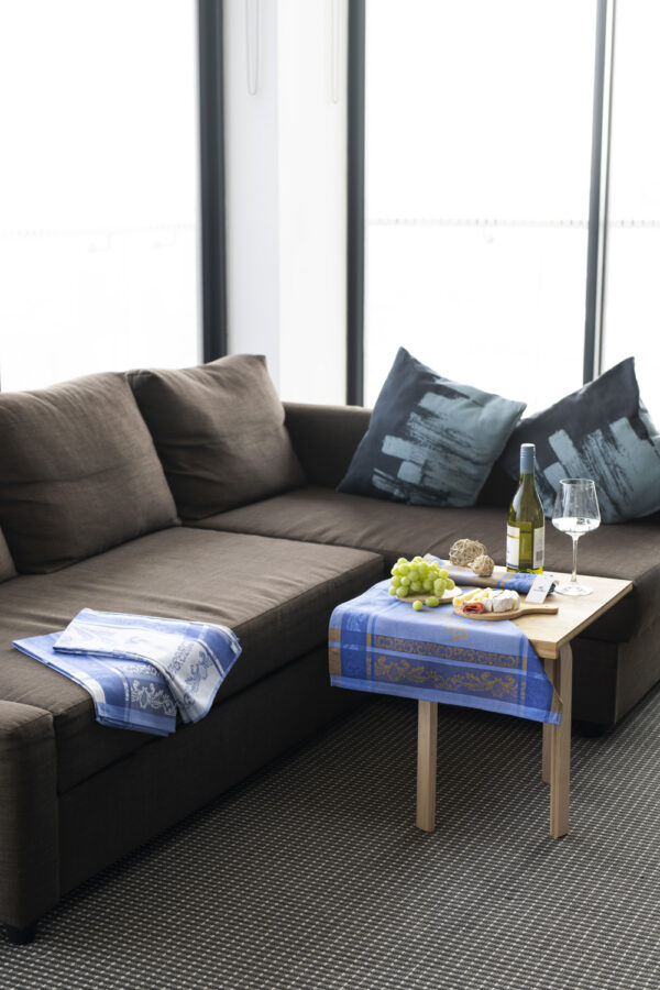 Helga Jacquard Tea Towel Blue and Navy Blue in the lounge