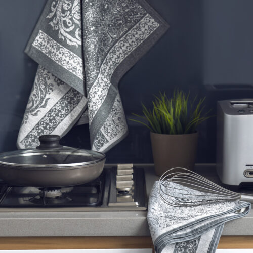 Isolde Jacquard Tea Towel Grey in the kitchen