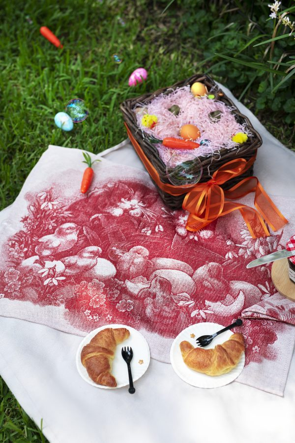 Tea Towel Easter Red chicks and kittens on green grass