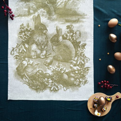 Tea Towels Easter Bunny Olive on green background