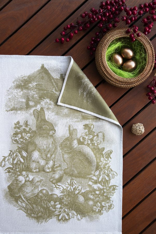 Tea Towels Easter Bunny Olive on wooden background