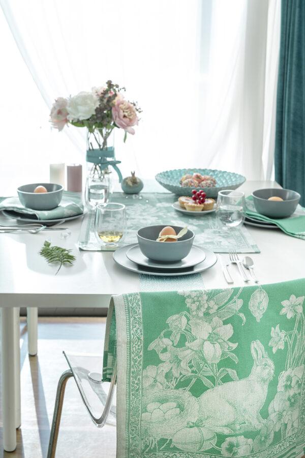 Easter Bunny Jacquard Tea Towel Green