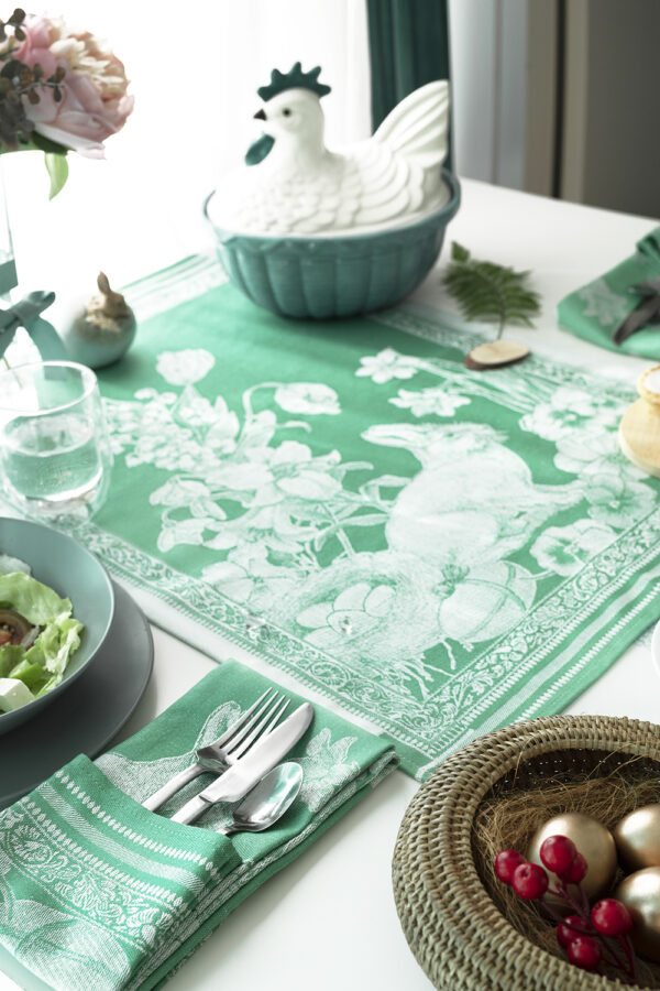 Jacquard Tea Towels Easter Green Bunny on the table