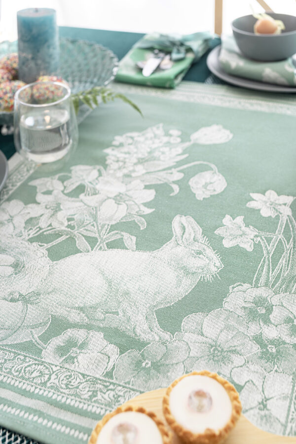 Jacquard Tea Towels Easter Mint Bunny on the table closer