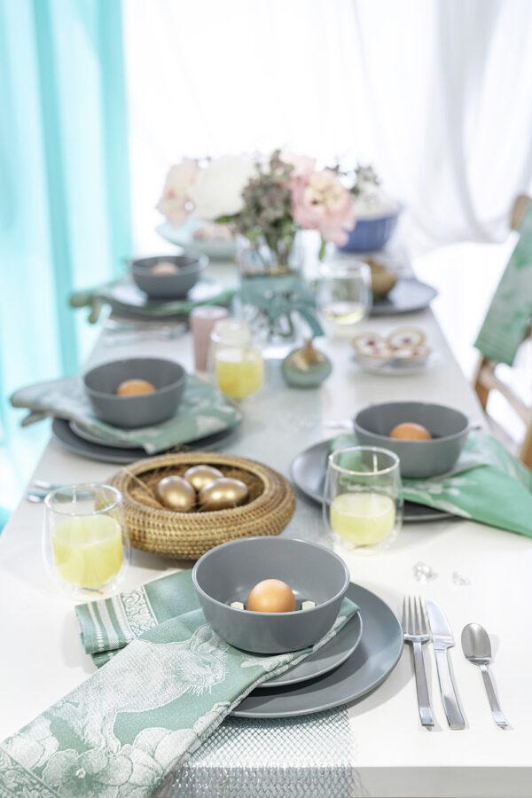 Easter Bunny Jacquard Tea Towel Mint and Green table setting