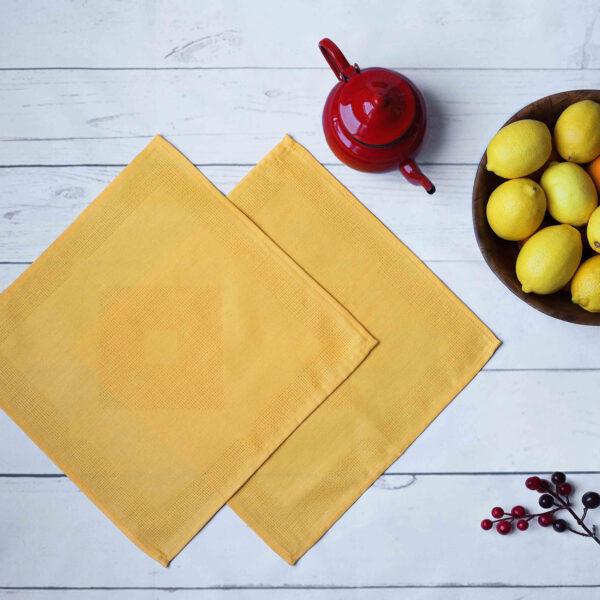 Diamond-Jacquard-Cotton-and-Linen-Napkin-Yellow