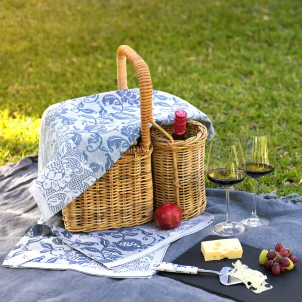 Granada Jacquard Tea Towel with Pomgranate and Red Wine on the Grass