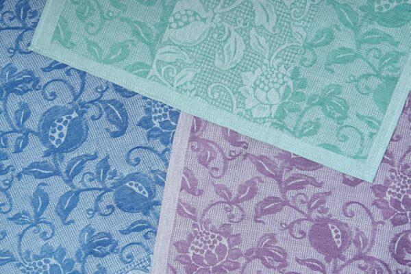 Granada Navy Blue Violet and Green Jacquard Tea Towels Flat combination