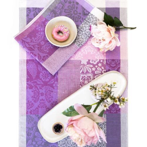 Pilgrim jacquard tea towel and Peonies and ceramics with berries and donut
