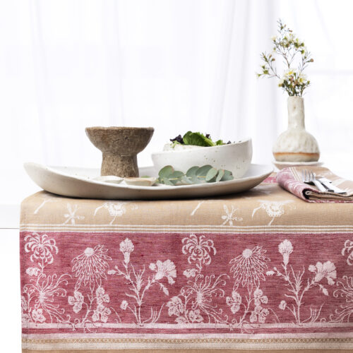 Summer jacquard tea towel with serving arrangement