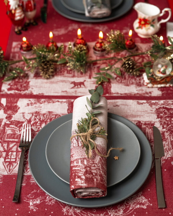 Winter Town Jacquard Tea Towel with Christmas table setting look from above