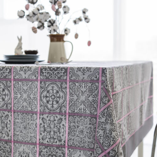 Amaya Jacquard Tablecloth Grey with Bunny and Easter Eggs