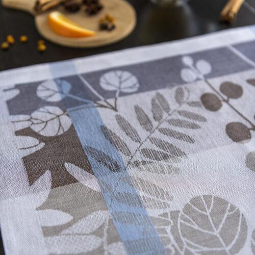 Autumn Garden Jacquard Tea Towel close look with spices and tea