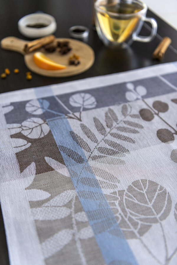 Autumn Garden Jacquard Tea Towel close look with spices and tea