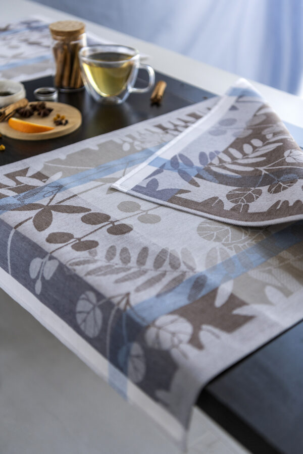 Autumn Garden Jacquard Tea Towel close look with spices and tea reverse