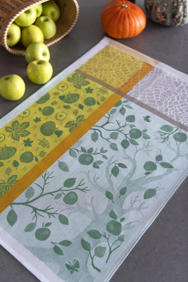 Autumn Harvest Jacquard Tea Towel with apples and pumpkins