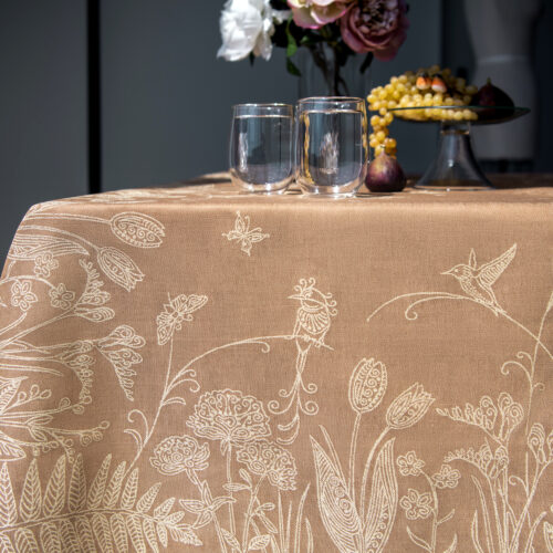 Lyrebird Jacquard Tablecloth with Flowers and fruit platter Bronze