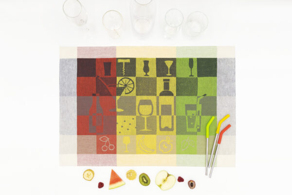 Party Time Jacquard Tea Towel with Glass and Fruit on white