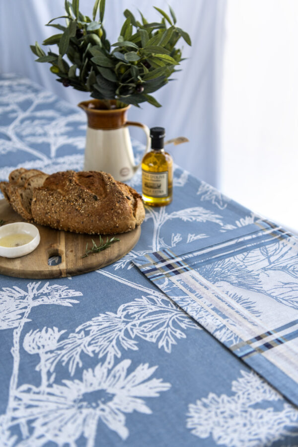 Russian Garden Jacquard Tablecloth on the table with bread olive oil and olive close look
