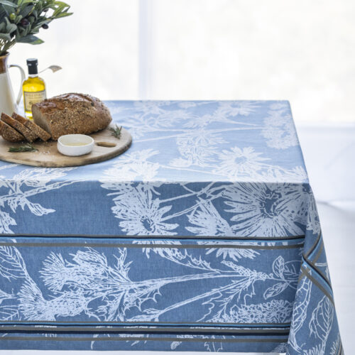 Russian Garden Jacquard Tablecloth on the table with bread olive oil and olives