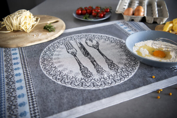 Silvia Jacquard Tea Towel with pasta tomatoes and eggs