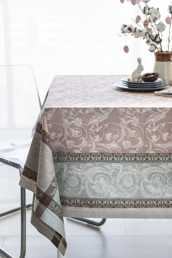 Winter Garden Jacquard Tablecloth with Bunny and Easter Eggs