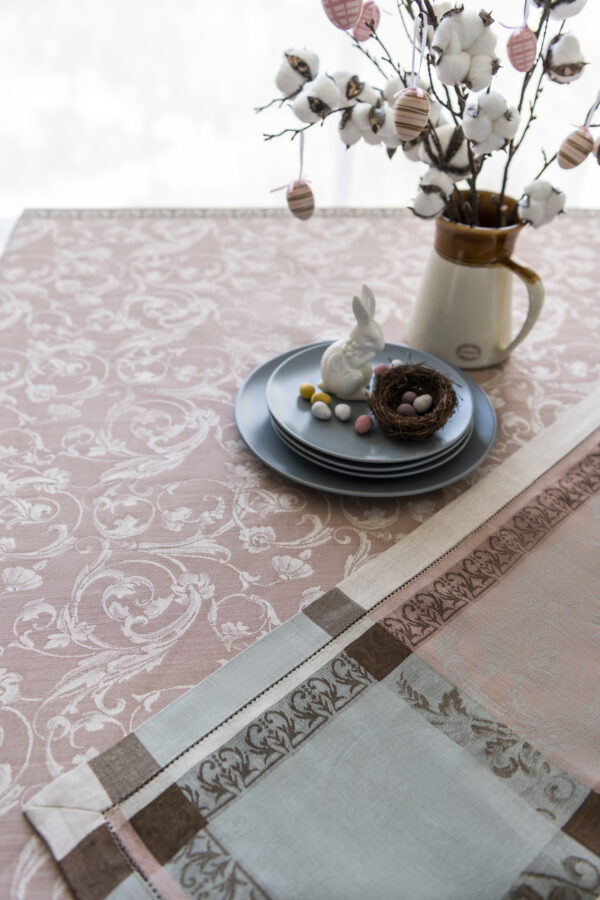 Winter Garden Jacquard Tablecloth with Bunny and Easter Eggs with negative pattern