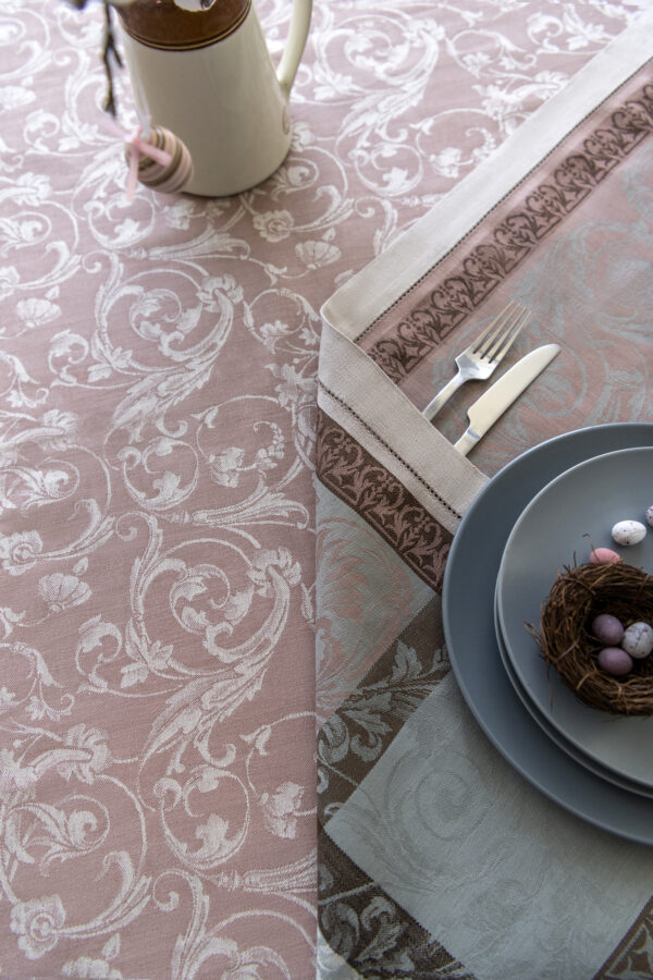 Winter Garden Jacquard Tablecloth with Bunny and Easter Eggs with negative pattern close look